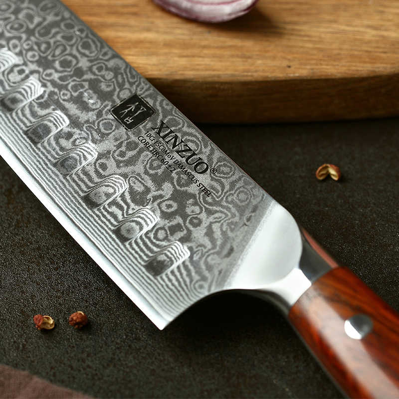 Xinzuo 7 Inch Japanese Chef Knife Damascus Steel Kitchen Knife Cleaver Knives Professional Santoku Knife 58hrc 62hrc Blade