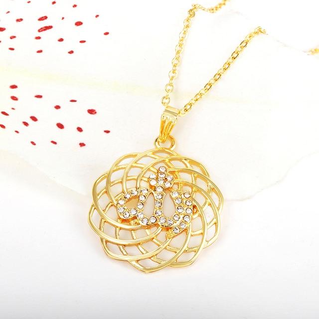 islam gorjuss allah muslim islamic fine jewelry necklace Fashion Gold Color Necklaces Pendants pendant fashion crystal jewellery 3