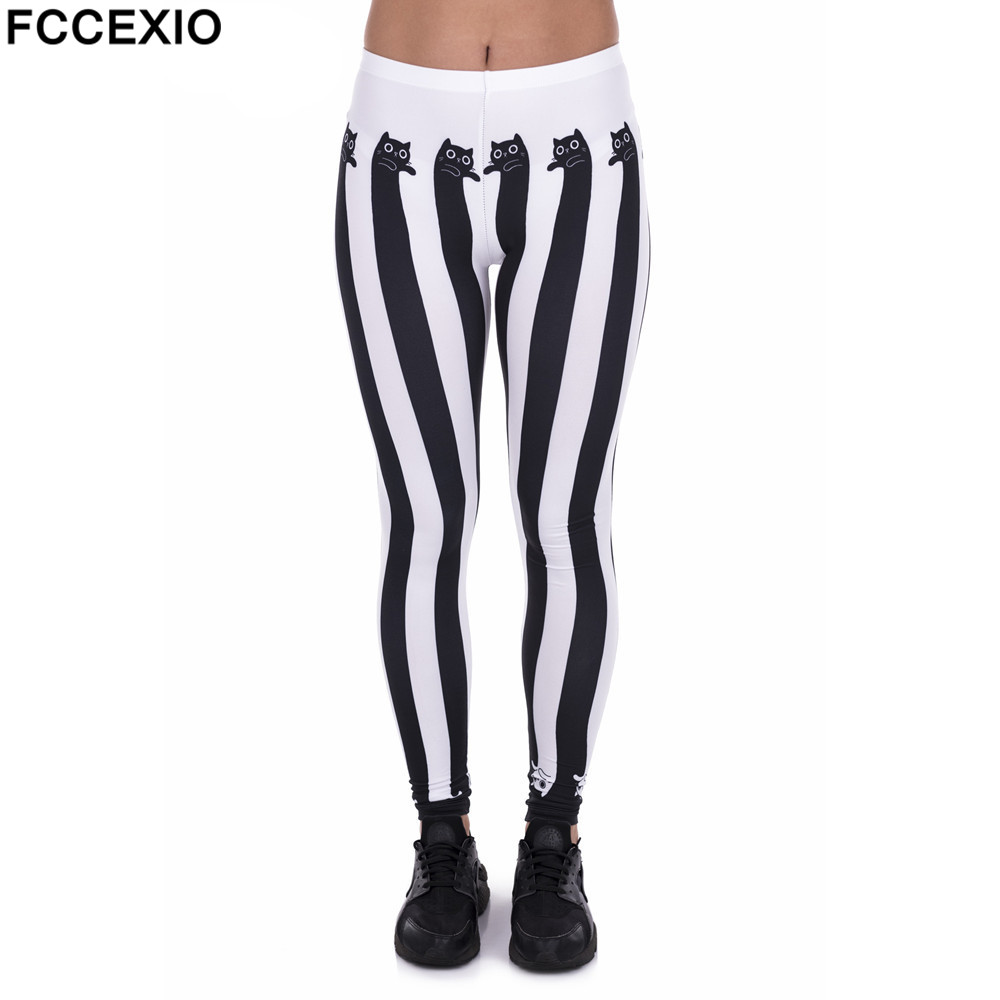 Fccexio New Style Women Leggings High Waist Fitness Legging Funnly Stripes Cats Print Leggins Female Pants Workout Slim Trousers