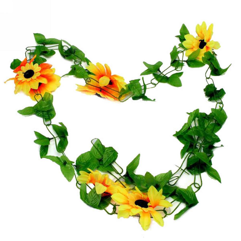 2x Romantic Pretty Artificial Sunflower Garland Flower Flores Vine ...
