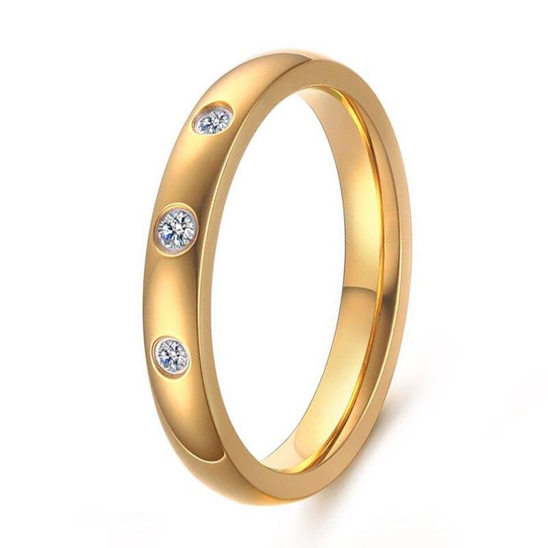 Новое поступление 3 мм Ширина CZ Алмазы женщина Обручальное Обещание Обручение кольцо Ювелирные украшения