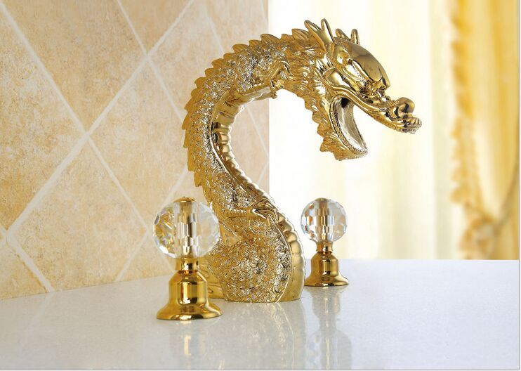 7 Faucet Finishes For Fabulous Bathrooms: Free Shipping Crystal Handles PVD GOLD Finish 3pcs