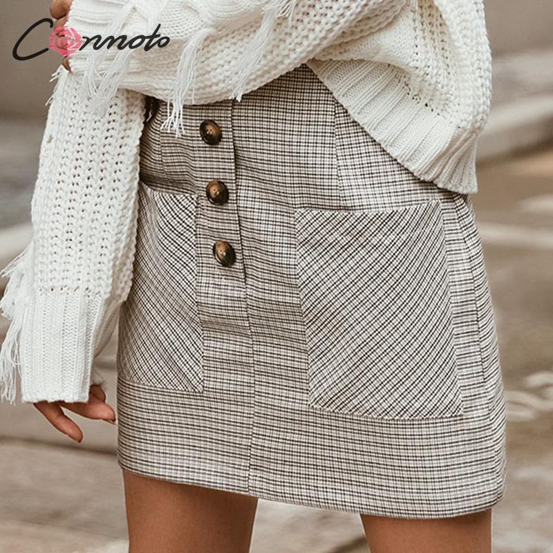 Image 3 - Conmoto 2019 Winter High Waist Skirts Women Button Casual Plaid Female Short Skirt Elegant Pocket Ladies Skirt-in Skirts from Women's Clothing