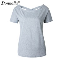 Donnalla Backless Cross Women T Shirt Short Sleeve Women Tops Tee Shirt Female Slim Fit Summer