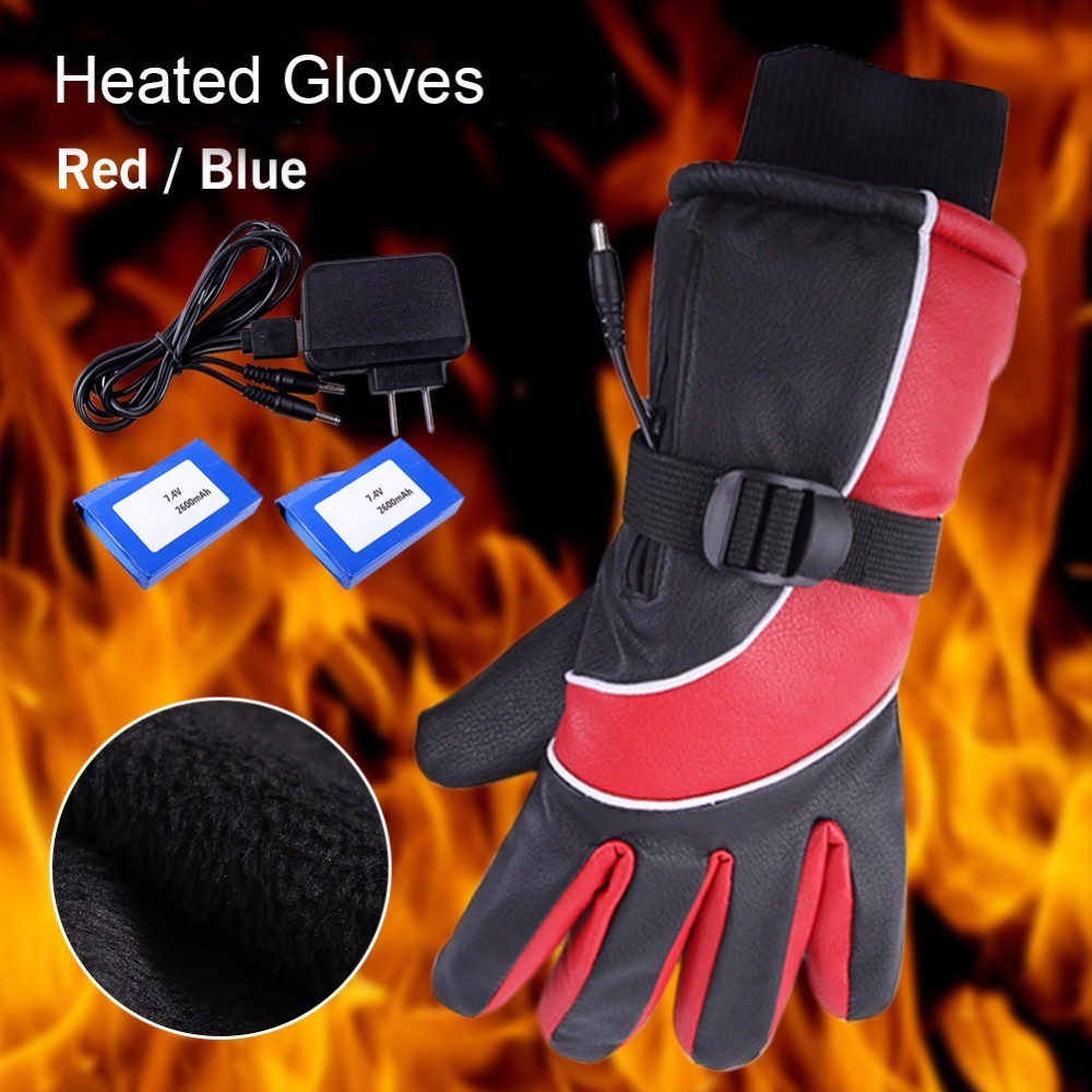7.4V Warm Gloves Rechargeable Electric Heating Gloves with 2x2600 mAh Battery Fingers&Hand Back Outdoor Winter Sports Ski Gloves windproof 5 fingers heated skiing gloves waterproof cycling rechargeable gloves electric heating gloves