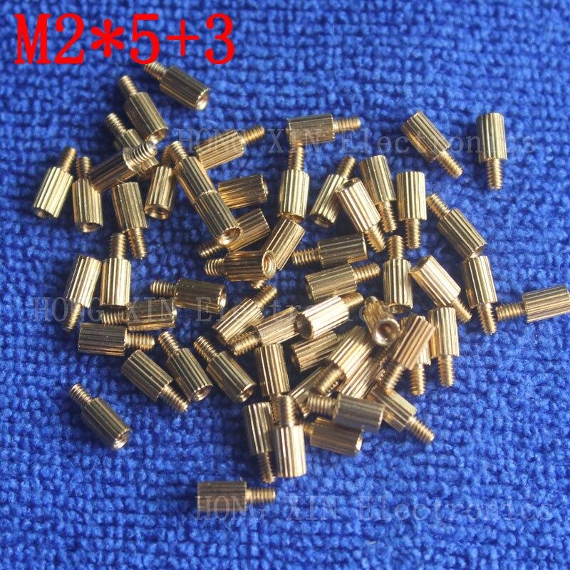 M2*5+3 10Pcs brass Standoff 5mm Spacer Standard Male-Female brass standoffs Metric Thread Column High Quality 10 piece sale