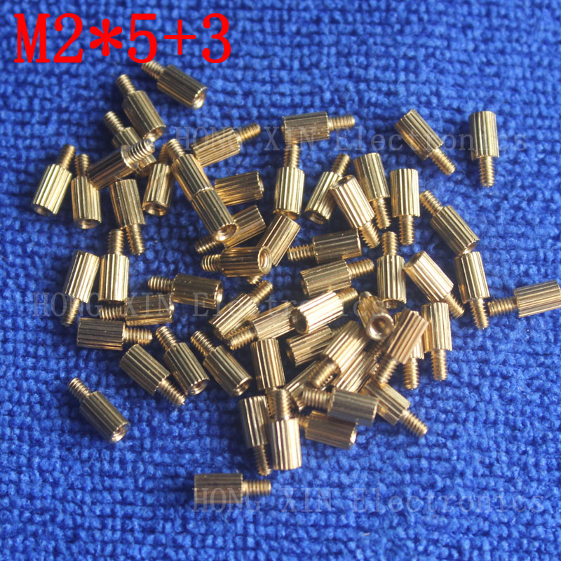 M2*5+3 1Pcs brass Standoff 5mm Spacer Standard Male-Female brass standoffs Metric Thread Column High Quality 1 piece sale m2 4 3 1pcs brass standoff 4mm spacer standard male female brass standoffs metric thread column high quality 1 piece sale