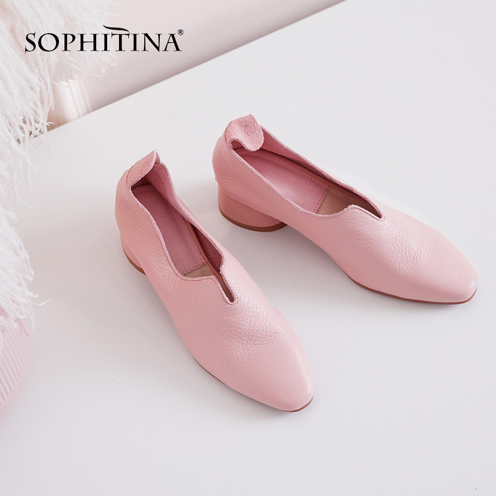SOPHITINA Comfortable Genuine Leather Pumps Fashion Ruffles Square Toe Slip-On Casual Shoes Handmade Spring Women's Pumps SO96