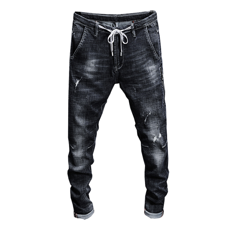 KSTUN Jeans Men Black Grey High Stretch Quality Brand 2018 Summer Ripped Drawstring Skinny Tapered