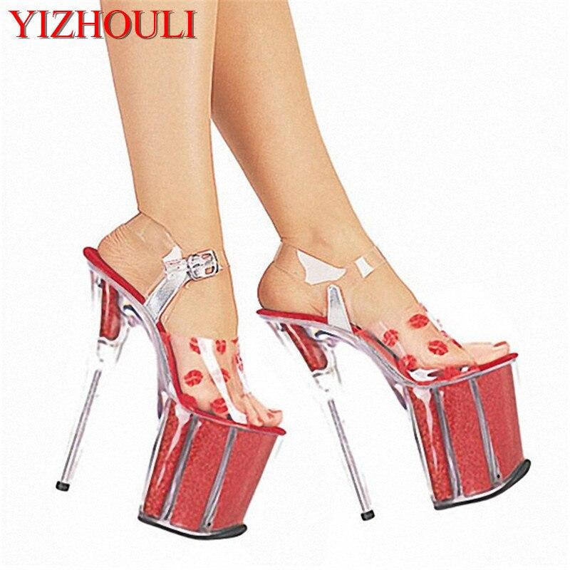 nuovo stile 4feaa 13e1e US $56.58 31% di SCONTO|2018 pattini a cristallo scarpe da sposa 20 cm  scarpe col tacco alto labbra rosse sexy sandali 8 Pollice Paris Fashion  Party ...