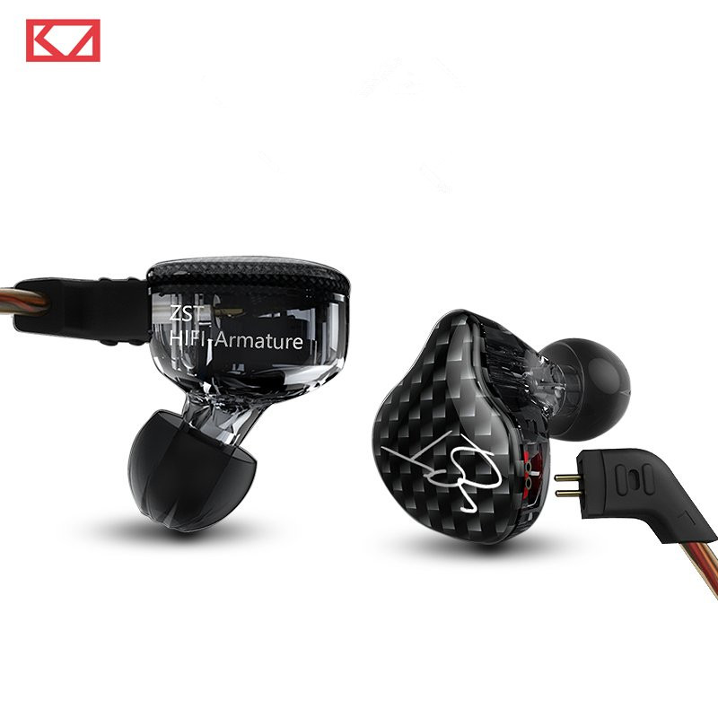 Original KZ ZST BA+DD In Ear Earphone Hybrid Headset HIFI Bass Noise Cancelling Earbuds With Mic Replaced Cable AS10