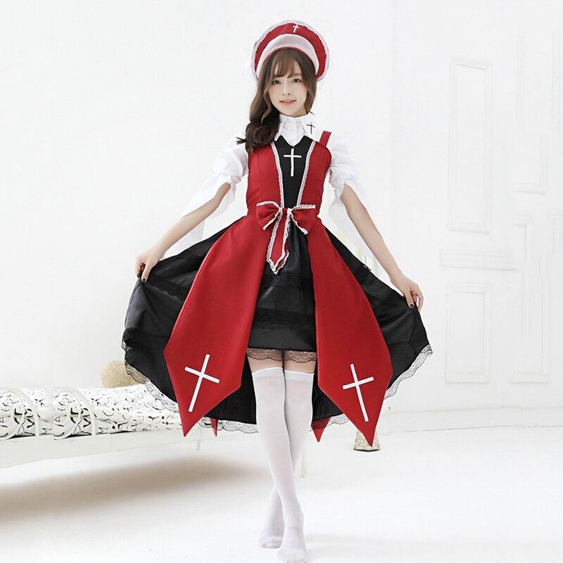 Halloween Christmas Costume Kawaii Maid Jsk Lolita Dresses For Women Vintage Gothic Anime Witch Nun Cosplay Party Dress Cross