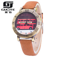 New Guote Vintage Style Fashion Watch Women Elegant Color Leather Strap Retro Double Deck Bus Roman