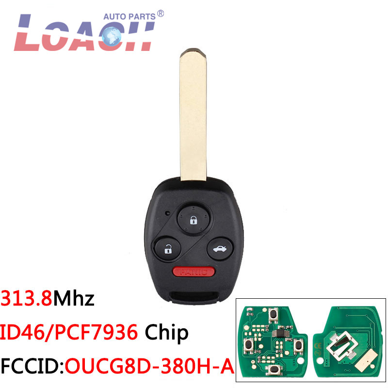 3+1Buttons OUCG8D-380H-A ID46 Chip Car <font><b>Keyless</b></font> Entry <font><b>Remote</b></font> Key For <font><b>Honda</b></font> Accord 2003-2007 For <font><b>Honda</b></font> CRV 2005-2007 keys image