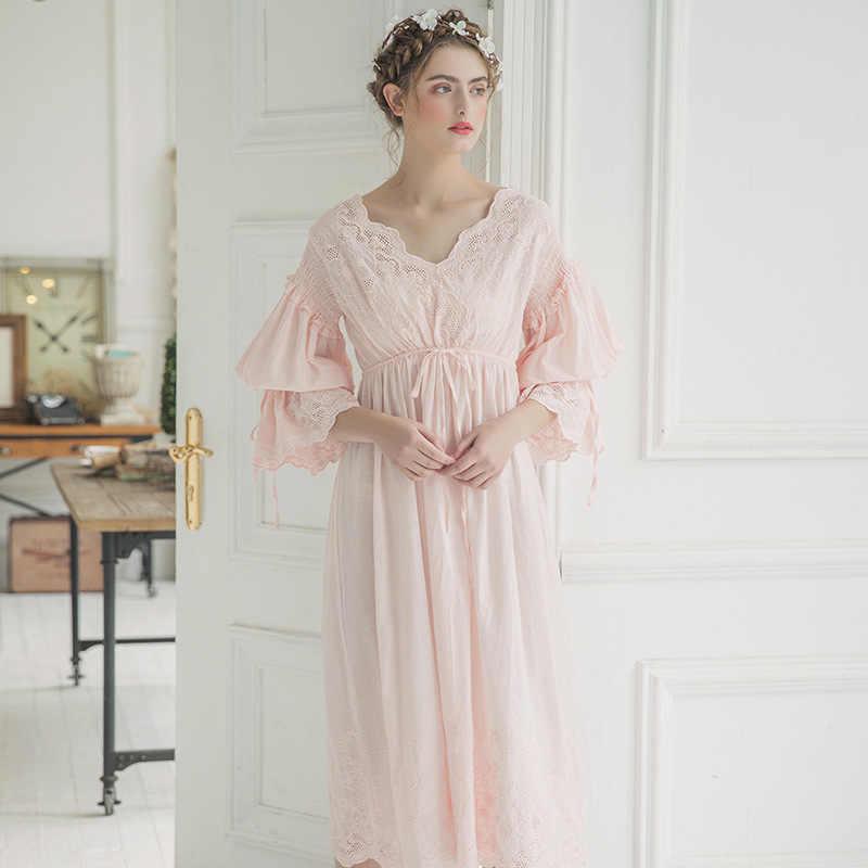 30fe4c9119 ... 2019 New Autumn White Cotton Nightgown Princess Nightdress Ladies  Nightwear Women Long Sleepwear Sleeping Dress 2131 ...