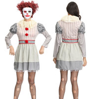Circus Clown Women Halloween Costumes Horro Film Cosplay Disguising Fancy Dress for Adult Funny Masquerade Scary Costume