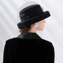 LEAYH Brand Vintage Wool Netting Hats Lady Party Expensive Gas Gambler Top Frilly Fedoras Outdoor Casual Caps For Women