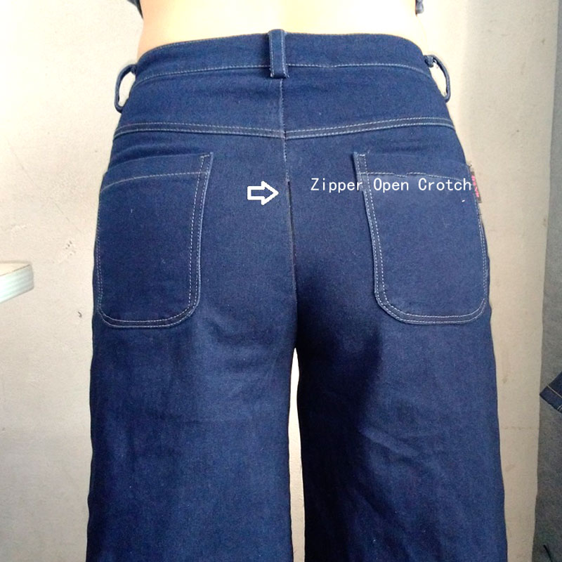 Sexy Women Fashion Zipper Open Crotch Jeans Vintage Wide Leg Jeans Loose Water Washed High Waist Denim Pants Plus Size F89