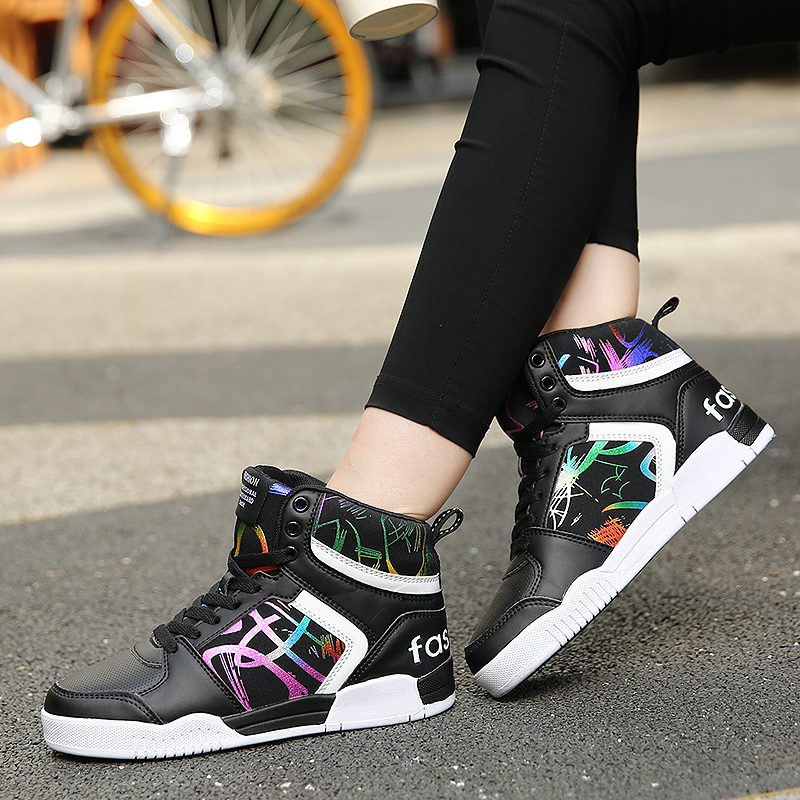 2019 Couples Basketball Shoes Large Size 36-47 Fitness Women Sneakers Spring Autumn Trainers Air Shoes High Top Basket Shoes Men