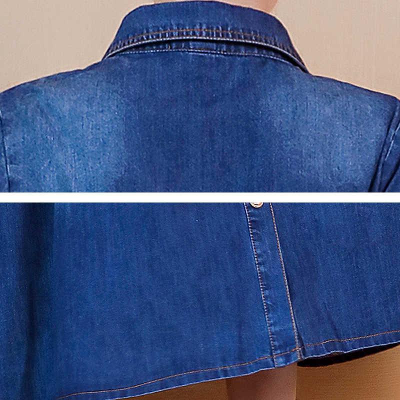 Джинсовое платье женское весна/осень 2019 Новое корейское длинное платье джинсы обтягивающие талии большие размеры с длинным рукавом большие качели платья HS79