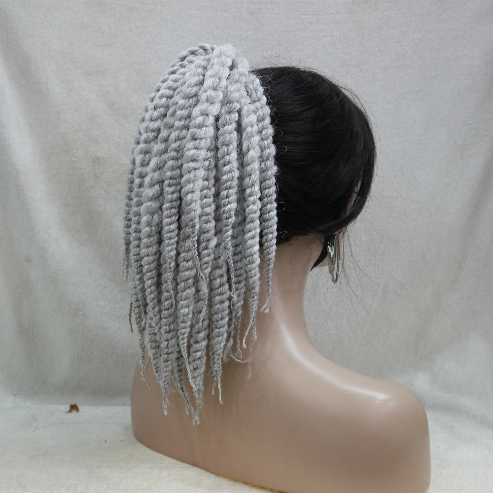 fashion Afro Kinky Curly Weave Ponytail Hairstyles Gray Clip On extensions In Ponytail