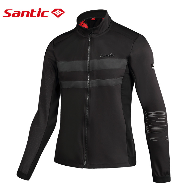 SANTIC Men's Cycling Jackets Thermal Windproof Insulated Coat Autumn Winter Mtb Road Bicycle Sports Fleece Long Sleeves Jersey santic keep warm cycling jackets for men windproof removable sleeves jacket autumn winter mtb road bike sports long sleeves coat
