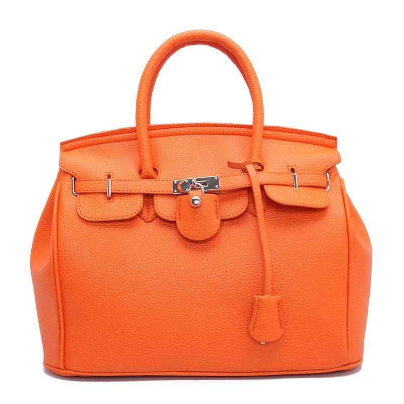 Casual <font><b>Tote</b></font> Buckle Lock <font><b>Handbag</b></font> Lichee Pattern Bags with zipper 30CM White <font><b>Orange</b></font> Grey Pink Black Blue Red Brown Crossbody