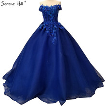 Dark Blue Off Shoulder Sexy Wedding Dresses 2020 New Flowers Sequined Fashion High end Bridal Gown Real Picture