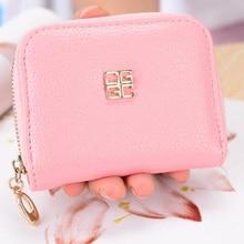 new ladies short wallet womens zipper korean litchi pattern small coin purse portefeuille femme portomonee