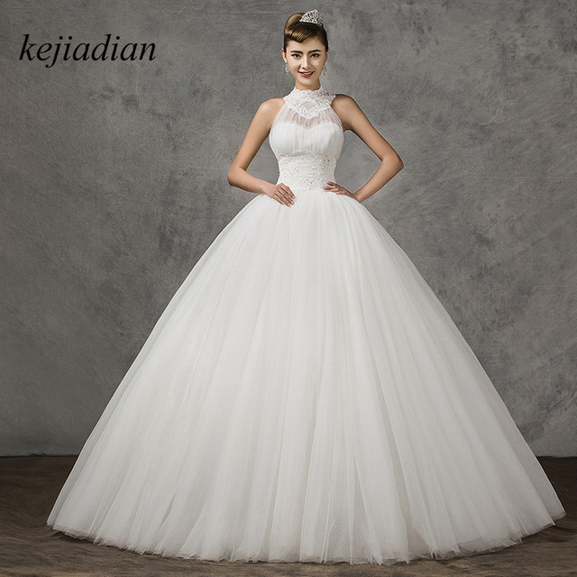 New Arrival White Ivory Top Ing Y Tull Simple Elegant Halter Wedding Dress Ball Gown Lace