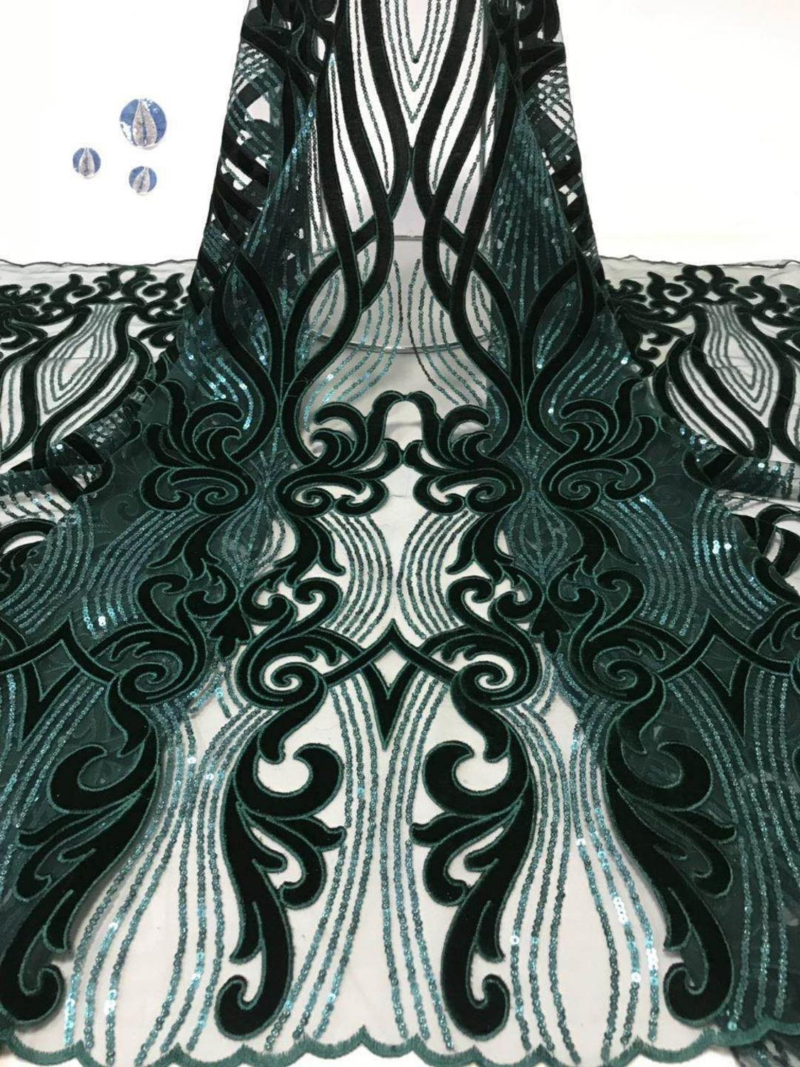 (5yards/lot ) 2018 New High quality emerald green Velvet African tulle lace French net lace fabric with Sequins for party dress