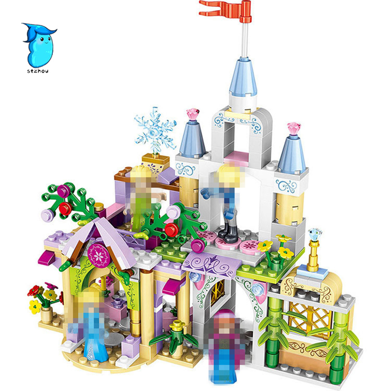 StZhou 4Style 4 in1 Princess Castle Building Blocks Sets DIY Bricks Birthday Gifts Toys For Girls Compatible With Legoe Friends 8 in 1 military ship building blocks toys for boys