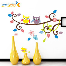 creative popular kid's room birthday gifts wall stickers medium vinyl removable two owls on the tree 3d wallpaper home decals(China)