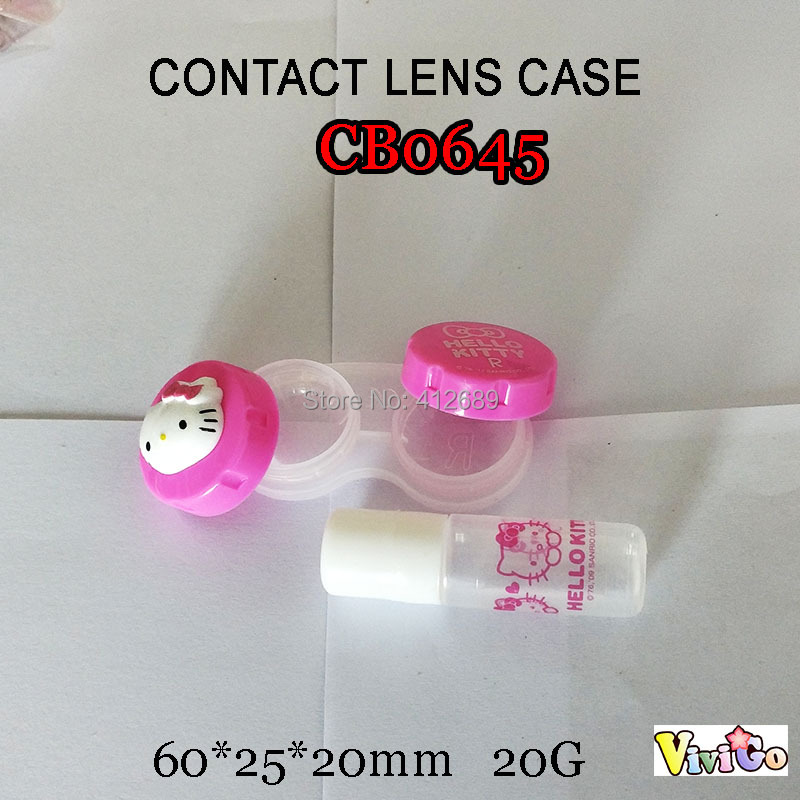 a7b2956dc free shipping CB0645 pink kitty with small solution bottle colorful contact  lens case small lenses storage box -in Accessories from Apparel Accessories  on ...