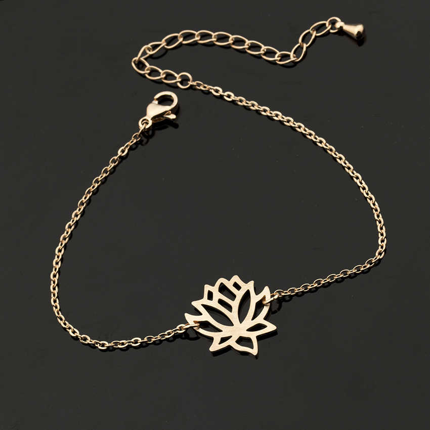 ... 2018 Foot Chain Stainless Steel Yoga Jewelry Flower Lotus Ankles for Women  Bracelet Gold Silver Rose ... a9faf2b4d972