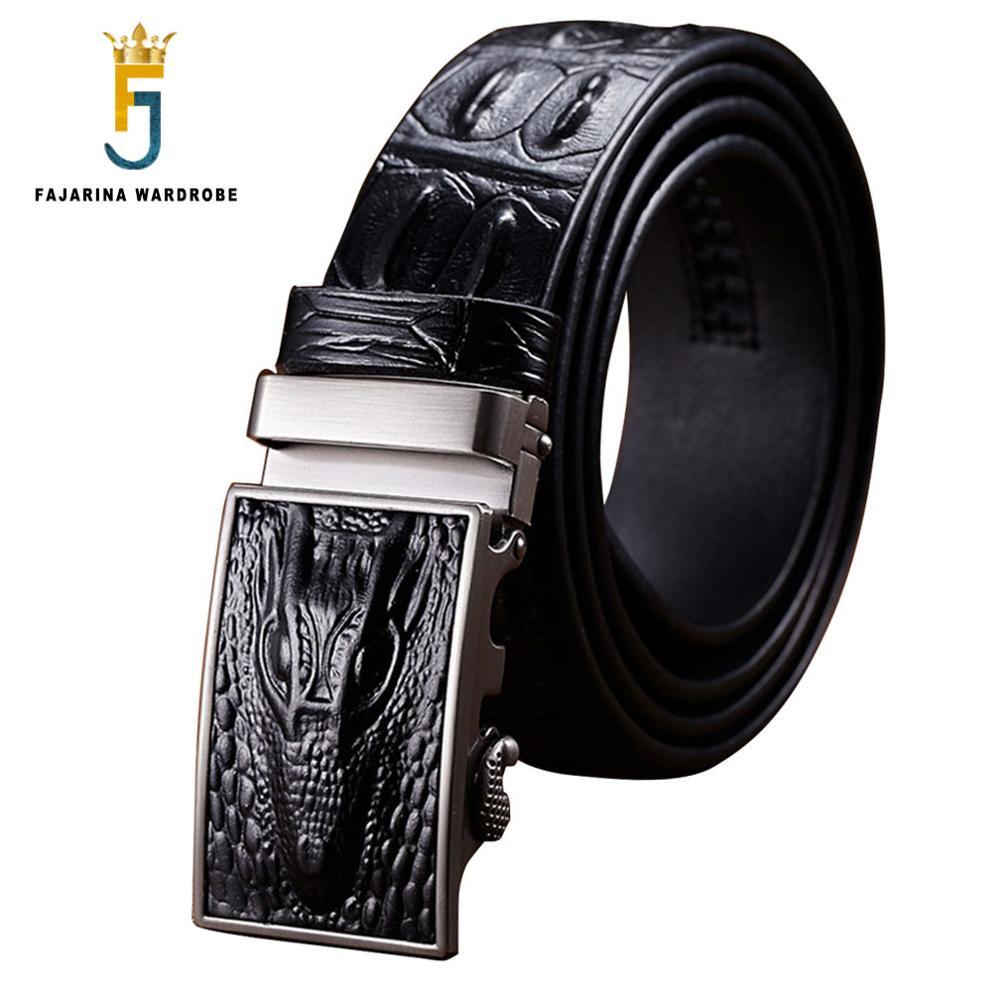 FAJARINA Designer Alligator Line Cowskin Genuine Straps Cowhide Crocodile Pattern Automatic Buckle Belts Men Belt Mens N17FJ051