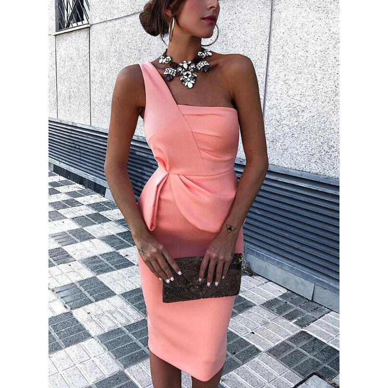 One off shoulder dress <font><b>Women</b></font> <font><b>sexy</b></font> <font><b>bodycon</b></font> dresses <font><b>Elegant</b></font> office ladies club party dress <font><b>Autumn</b></font> <font><b>2018</b></font> <font><b>fashion</b></font> skinny vestidos image