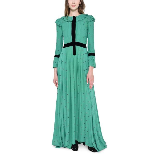 eb0b3daf4fd 2018 mode tendance femmes vêtements violet étoile imprimé vert maxi longue  robe à volants col évasé