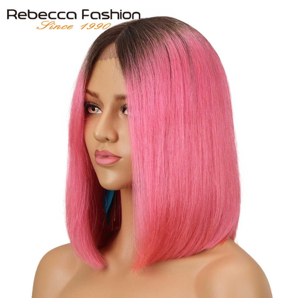 Rebecca środkowa część koronki przodu peruki dla kobiet brazylijski dziewiczy włosy Silky prosty krótki Bob Ombre różowa cegła czerwony kolor Remy włosy peruka