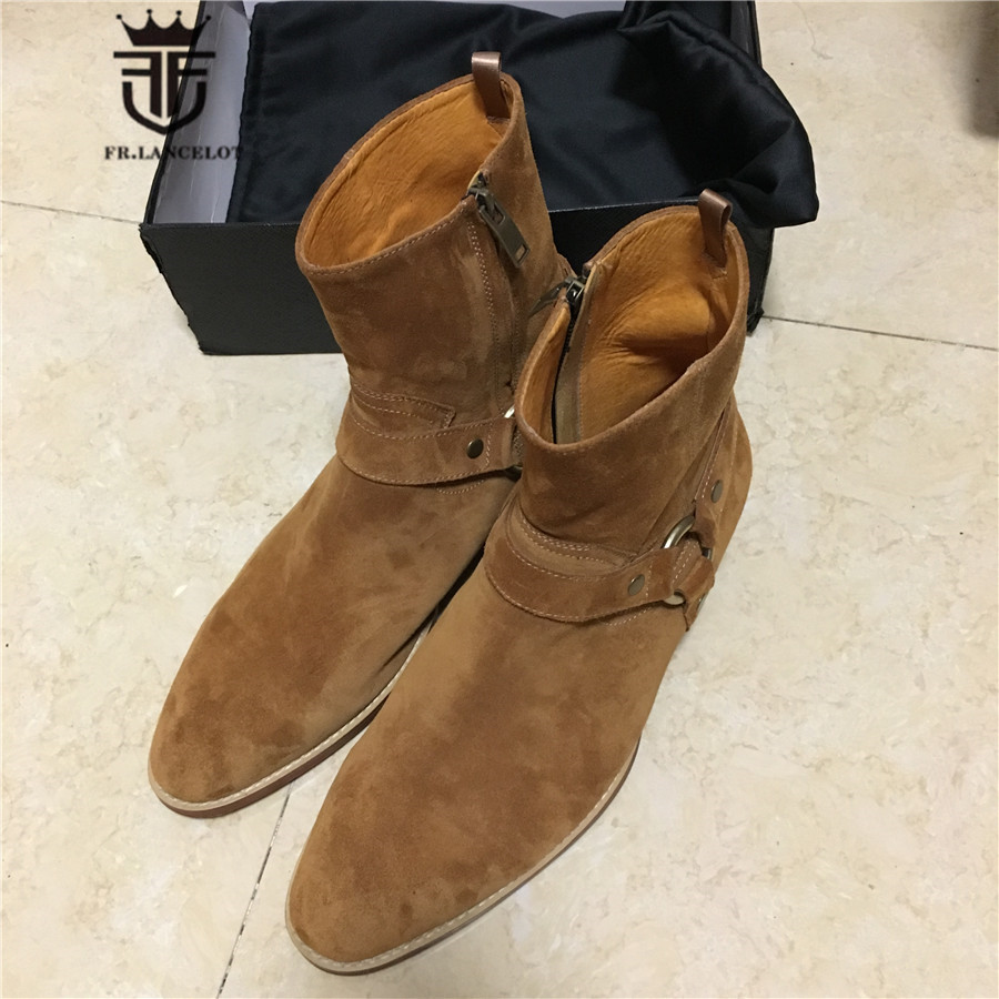 Real Picture Luxury Handmade Personalized SLIM Buckle Strap Chelsea Men Boots Genuine Leather High Top Suede Street Boots high end handmade customized high top luxury demin boots men genuine leather personalized suede folds chelsea boots