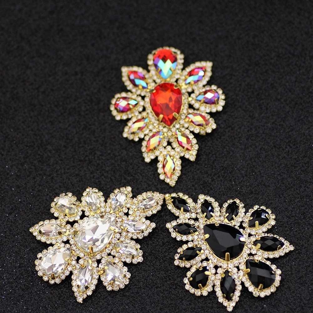 5.8 4.5cm White Crystal rhinestone applique Silver Base Belt Applique Sew  on Rhinestone For 6a6709f795ac