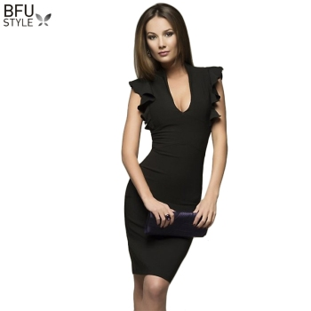 2019 Summer Autumn Sleeveless Ruffle Bodycon Dress Elegant Women V-Neck Sexy Party Dress Nightclub Black Gary Midi Vestidos