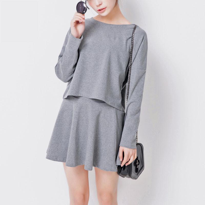2016-Spring-New-Batwing-Long-sleeve-Ball-Gown-Skirt-Sets-Women-Sweet-O-Collar-Crochet-grid (2)