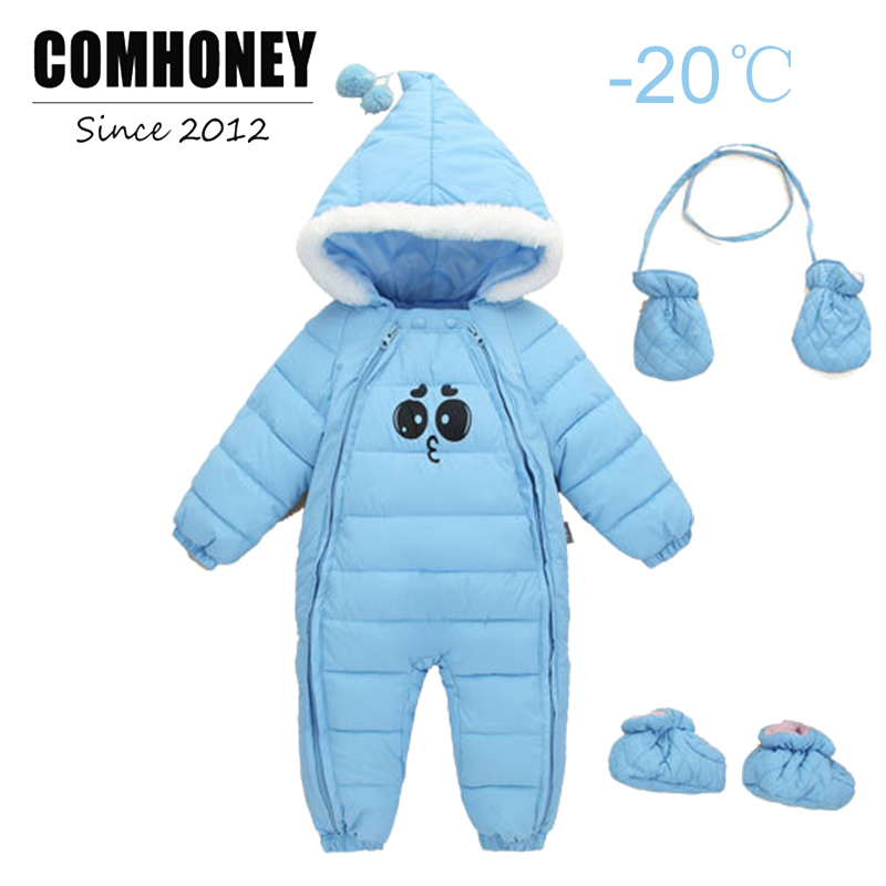 Baby Winter Rompers for Boys Girls Cute Expression Print Newborn Down Warm Jumpsuit Toddler Overall Thick Cotton Infant Outfits
