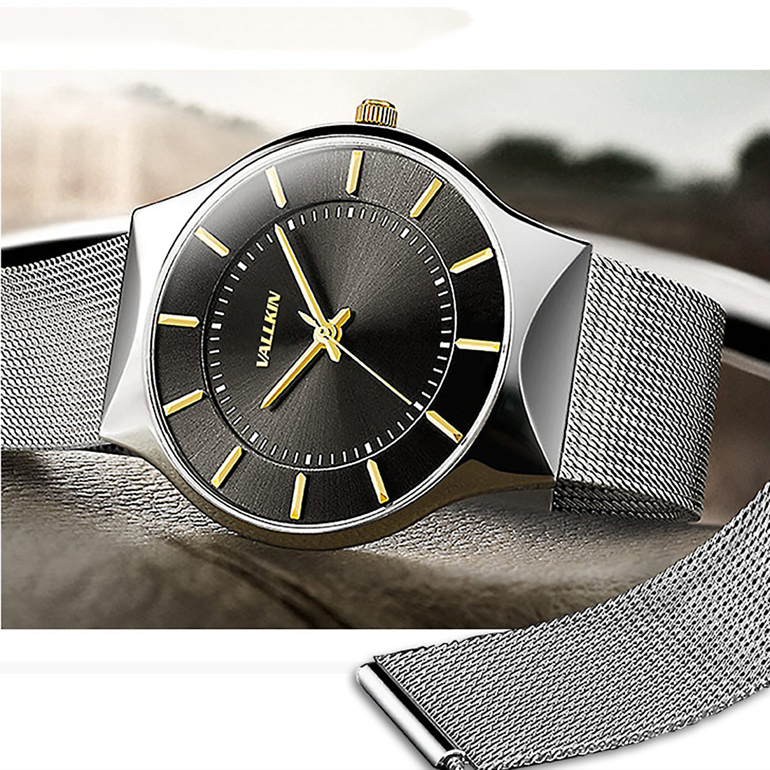 Men Wrist Watch Elegant Stainless Steel quartz dial mesh strap adjustable Men's large watches luxury wristwatches 2018 silver adjustable wrist and forearm splint external fixed support wrist brace fixing orthosisfit for men and women