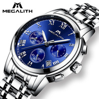 Luxury Watch Men MEGALITH Waterproof Chronograph Analogue Date Wrist Watch For Men Stainless Steel Quartz Watches Relogio Clock