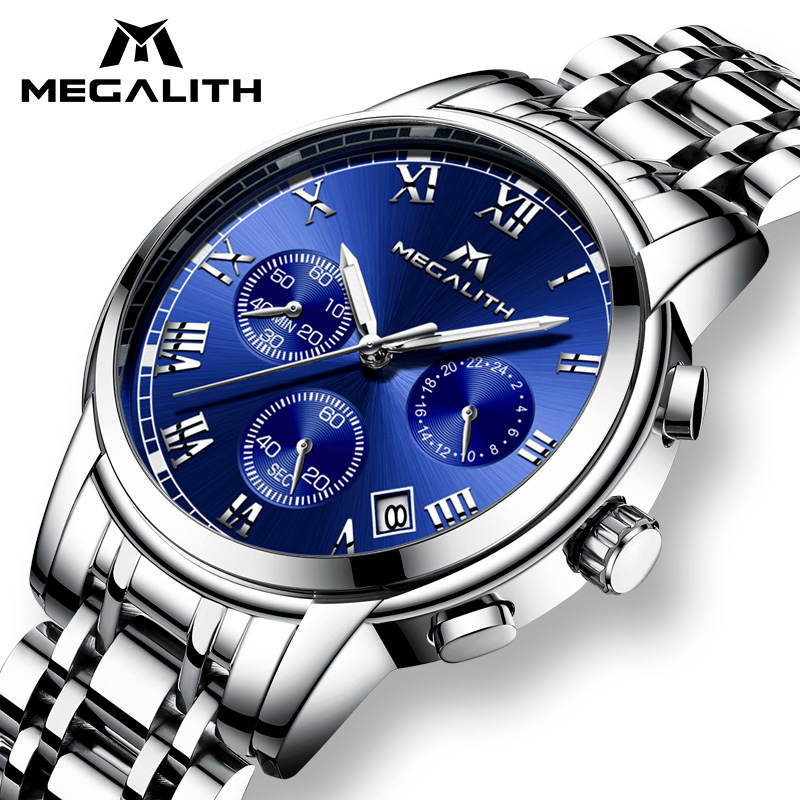 Luxury Watch Men MEGALITH Waterproof Chronograph Analogue Date Wrist Watch For Men Stainless Steel Quartz Watches Relogio Clock 2 8x lcd viewfinder for canon 600d 60d