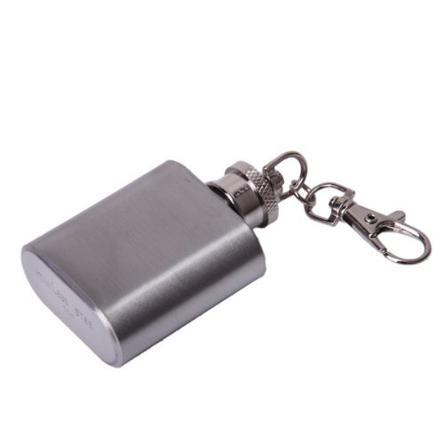 NHBR 1 oz Silver Portable Stainless Steel Hip Flask Keychain