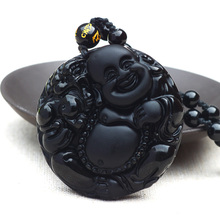 Drop Shipping Natural Black obsidian maitreya pendant frosted bellied buddha necklace for men