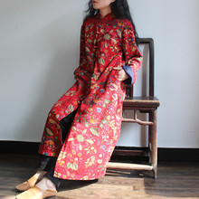 2016 literary Ladies Retro Stand collar Hand made button Loose National Print Cotton Linen Trench Coat Overcoat Single Breasted
